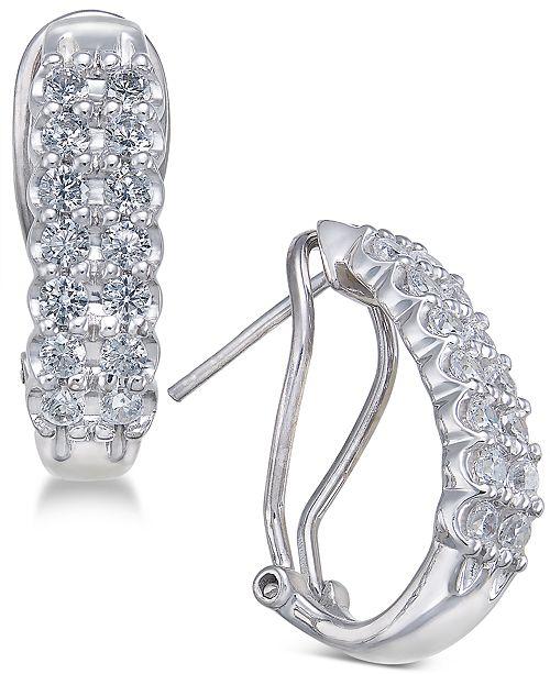 Macy's Diamond Hoop Earrings (1 ct. t.w.) in 10k White Gold & Yellow Gold