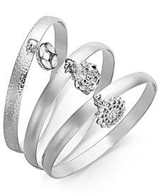 I.N.C. 3-Pc. Set Crystal Charm Bangle Bracelets, Created for Macy's