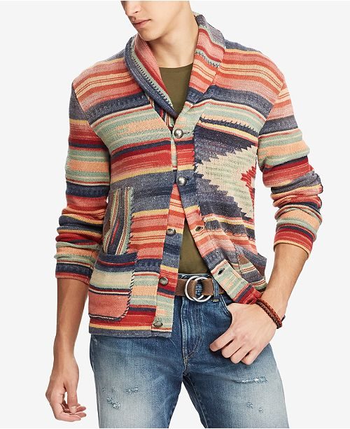 ba8583da1255e Polo Ralph Lauren Men s Patterned Shawl Cardigan   Reviews ...