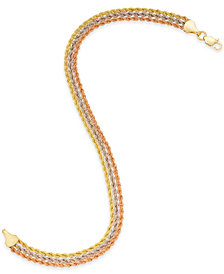 Tri-Color Triple Rope Bracelet in 14k Gold, White Gold & Rose Gold