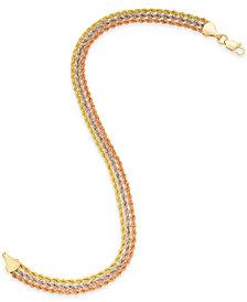 Tri-Color Triple Rope Bracelet in 14k Gold, White Gold & Rose Gold