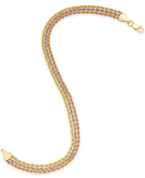Tri Color Triple Rope Bracelet In 14k Gold White Rose