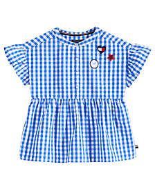Tommy Hilfiger Cotton Peplum Gingham Top, Big Girls