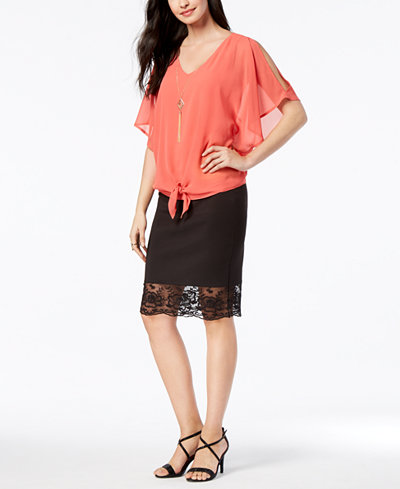 Thalia Sodi Tie-Front Top & Lace-Trim Skirt, Created for Macy's