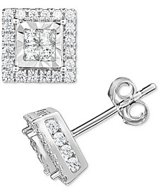 Diamond Quad Stud Earrings (1 ct. t.w.) in 14k White Gold