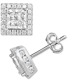 TruMiracle™ Diamond Quad Stud Earrings (1 ct. t.w.) in 14k White Gold