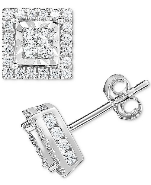 TruMiracle Diamond Quad Stud Earrings (1 ct. t.w.) in 14k White Gold