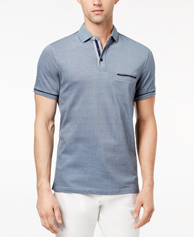 Ryan Seacrest Distinction™ Men's Slim-Fit Blue Printed-Collar Pocket Polo, Created for Macy's