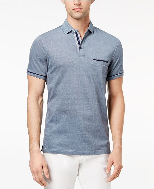 Ryan Seacrest Distinction Men's Slim-Fit Blue Printed-Collar Pocket Polo, Created for Macy's