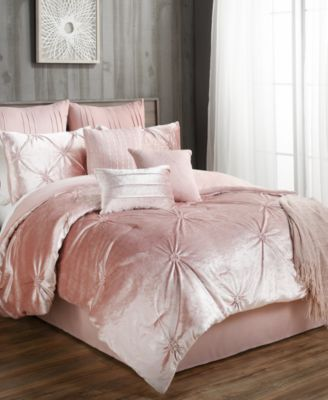 Exceptional ... Of Luxe Texture And Contemporary Elegance To Your Bedroom With The Rich  Velvet, Tufted Accents And Beautiful Blush Tone Of These Sherrie Comforter  Sets.