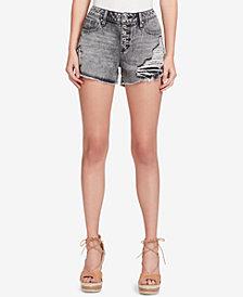 Jessica Simpson Juniors' Ranger Cotton Ripped High-Waist Denim Shorts