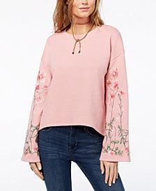 One Hart Juniors' Embroidered Bell-Sleeve Sweatshirt