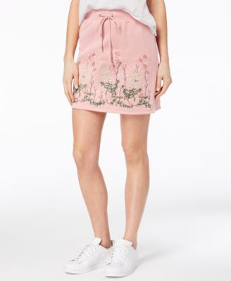 One Hart Juniors Embroidered Faux-Leather Skirt