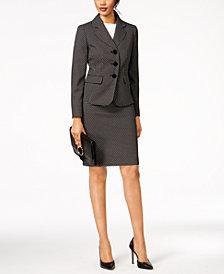 Le Suit Jacquard-Dot Skirt Suit