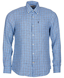 Barbour Men's Felix Light Blue Plaid Linen Shirt