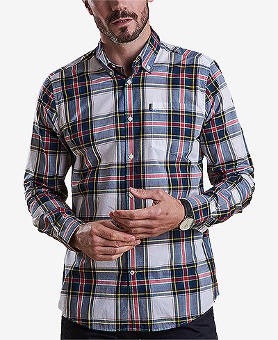Barbour Men's Oscar White Plaid Oxford Shirt