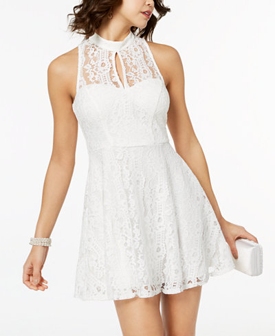 Speechless Juniors' Lace Cutout Fit & Flare Dress