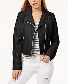 Coffeeshop Asymmetrical Faux-Leather Jacket