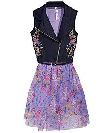 Beautees 2-Pc. Embroidered Moto Vest & Floral-Print Dress Set, Big Girls