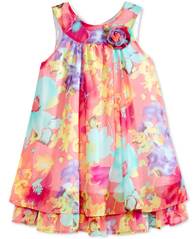 Blueberi Boulevard Floral-Print Chiffon Shift Dress, Toddler Girls