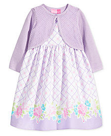 Good Lad 2-Pc. Cotton Cardigan & Dress Set, Little Girls