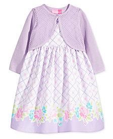 Good Lad 2-Pc. Cotton Cardigan & Dress Set, Little Girls