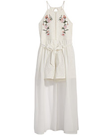 Sequin Hearts Embroidered Lace Maxi Overlay Romper, Big Girls