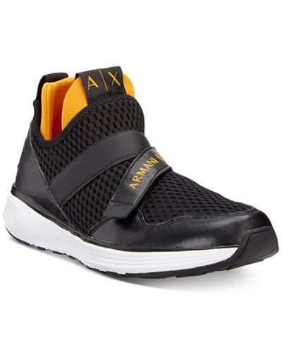 Armani Exchange Men's Light-Weight Two-Tone Knit Sneakers