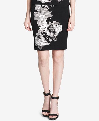 Calvin Klein Cotton Floral-Print Pencil Skirt