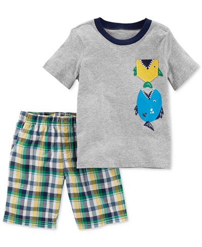 Carter's 2-Pc. Graphic-Print Cotton Shirt & Shorts Set, Toddler Boys