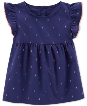 Carter's Pom Pom Trim Printed Cotton Top, Toddler Girls 5280574