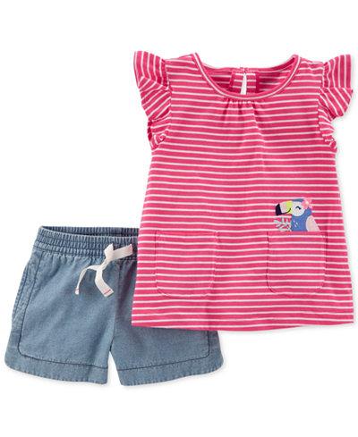 Carter's 2-Pc. Striped Toucan T-Shirt & Shorts Set, Toddler Girls
