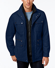 Michael Kors Men's Wool-Blend Field Coat with Attached Bib