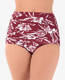 Miraclesuit Hibiskiss Printed Shirred High Waist Norma Jean Bikini Bottoms