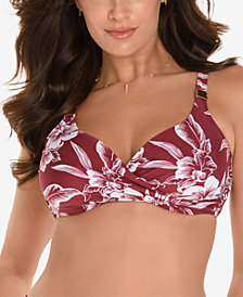 Miraclesuit Hibiskiss Printed D-Cup Bra-Sized Cross-Over Bikini Top