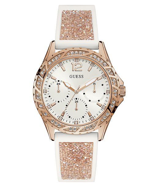 b095b7da8f2f ... GUESS Women s White Silicone   Rose Gold-Tone Glitter Strap Watch 40mm  ...