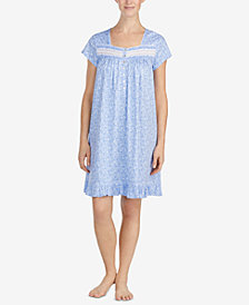 Eileen West Embroidered-Lace Cotton Knit Nightgown