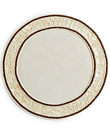 Leila's Linens Mother of Pearl with Wood Bead Placemat