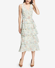 Tommy Hilfiger Floral-Printed Tiered Midi Dress