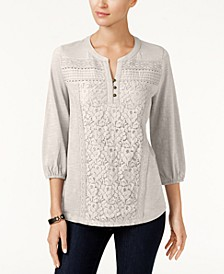 Petite Lace-Front Henley Top, Created for Macy's