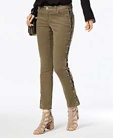 I.N.C. Curvy-Fit Lace-Up Skinny Jeans, Created for Macy's