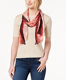 Calvin Klein Ombré-Border Leopard-Print Silk Scarf