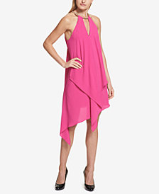 kensie Draped Snake-Chain Keyhole Dress