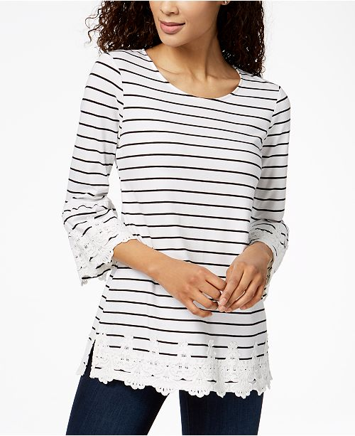 Petite Striped Lace-Trim Tunic, Created for Macy's