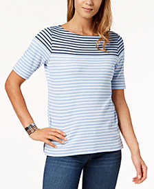 Karen Scott Cotton Stripe Elbow-Sleeve Top, Created for Macy's