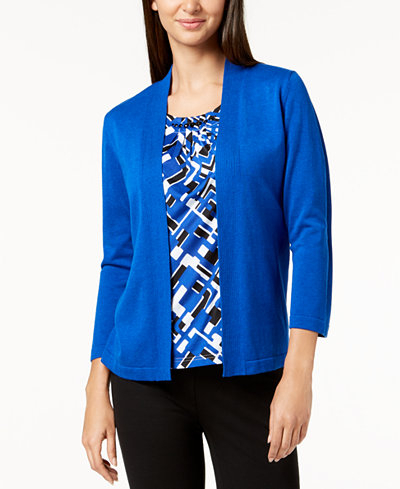 Alfred Dunner Upper East Side Embellished Layered-Look Sweater