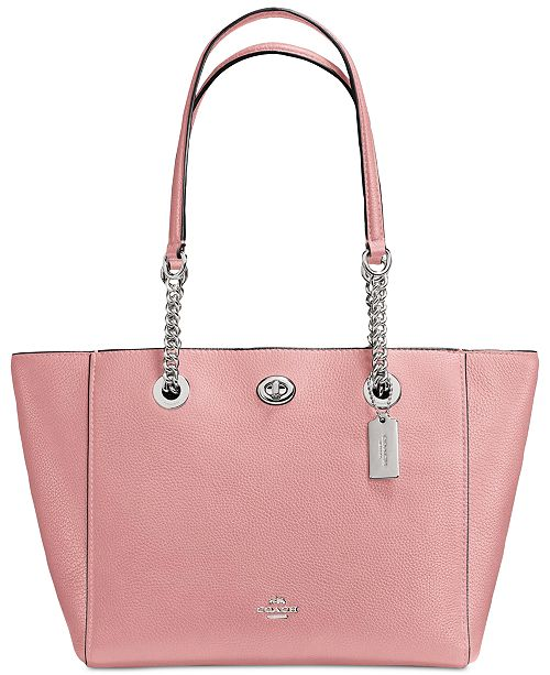COACH Turnlock Chain Tote 27 in Polished Pebble Leather
