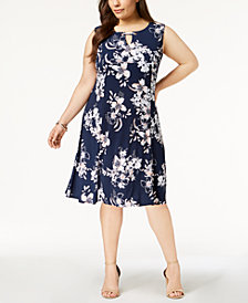 JM Collection Plus Size Keyhole-Neck Dress, Created for Macy's