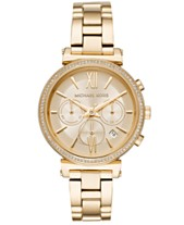 01f24414f Michael Kors Women's Chronograph Sofie Gold-Tone Stainless Steel Bracelet  Watch 39mm