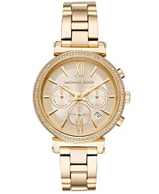 Michael Kors Women's Chronograph Sofie Gold-Tone Stainless Steel Bracelet Watch 39mm